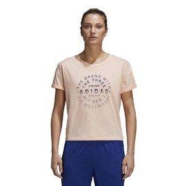 Béžové dámské tričko s krátkým rukávem Adidas - velikost S