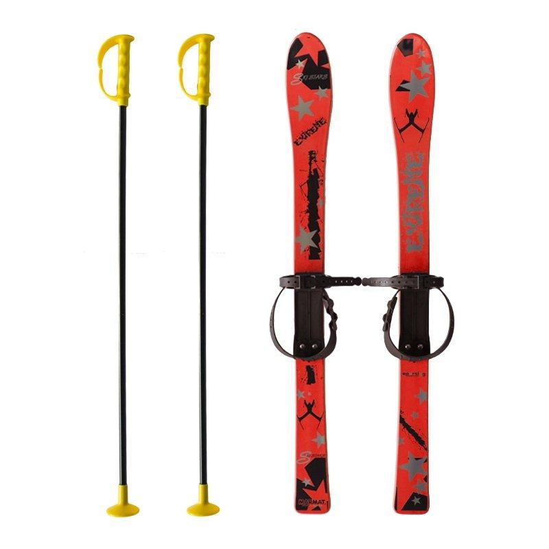 Červená dětská sada na sjezdové lyžování Master - délka 90 cm