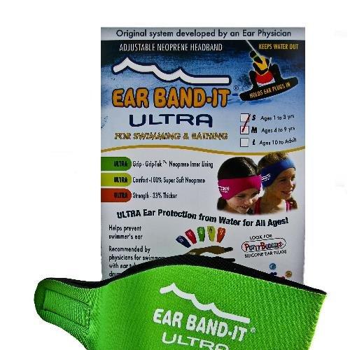 Zelená neoprénová koupací čelenka Ultra, Ear Band-It®