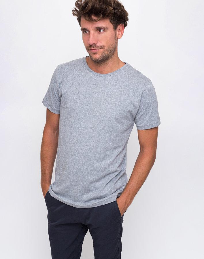 Šedé pánské tričko s krátkým rukávem Knowledge Cotton - velikost M