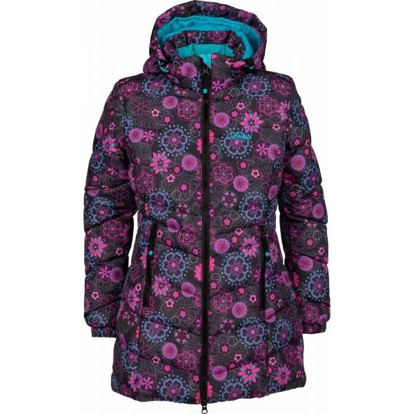 Modro-růžový prošívaný dívčí kabát Lewro