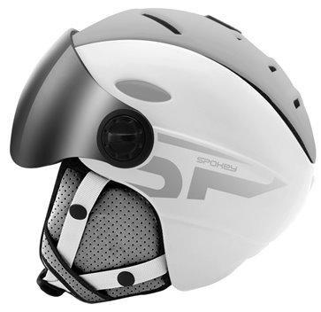 Bílo-šedá lyžařská helma Spokey - velikost 54-58 cm