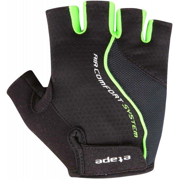 Černo-zelené pánské cyklistické rukavice Etape