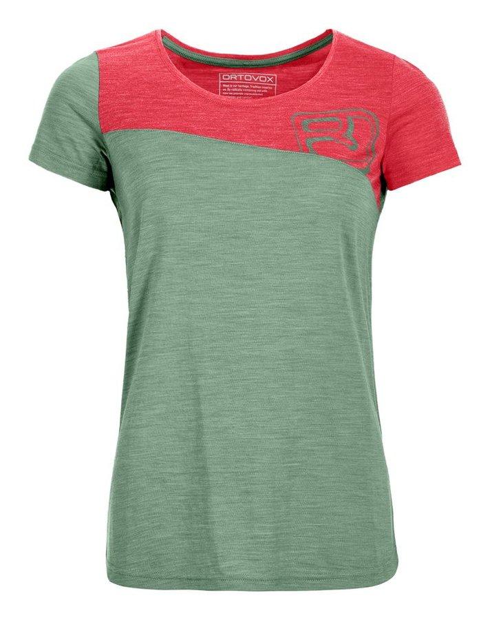 Červeno-zelené dámské termo tričko s krátkým rukávem Ortovox