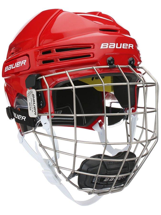 Hokejová helma - Combo Bauer RE-AKT 75 RED Velikost: S