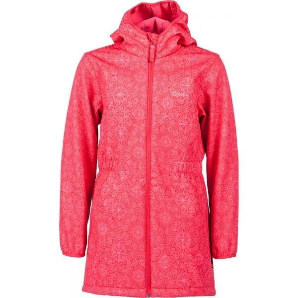 Růžový softshellový dívčí kabát Lewro