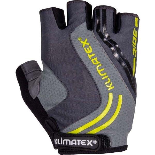 Šedé pánské cyklistické rukavice Klimatex - velikost S