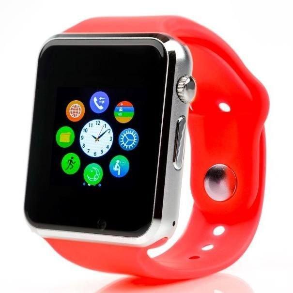 Červené digitální chytré hodinky Squarz, Smartomat