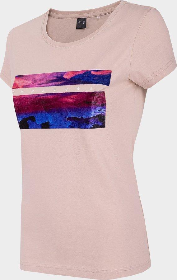 Růžové dámské tričko s krátkým rukávem 4F - velikost M