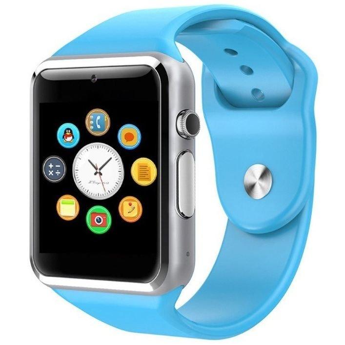 Modré digitální chytré hodinky Squarz, Smartomat