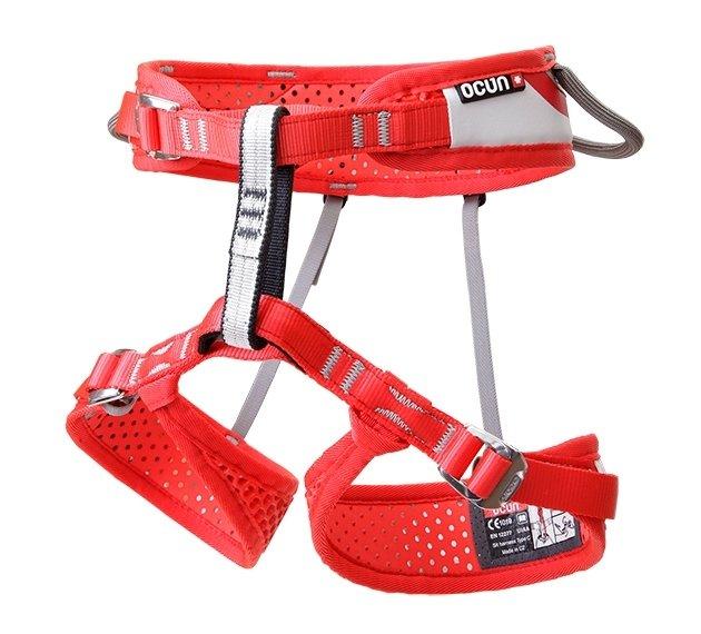 Červený dětský horolezecký úvazek WeBee, Ocún - velikost XXS