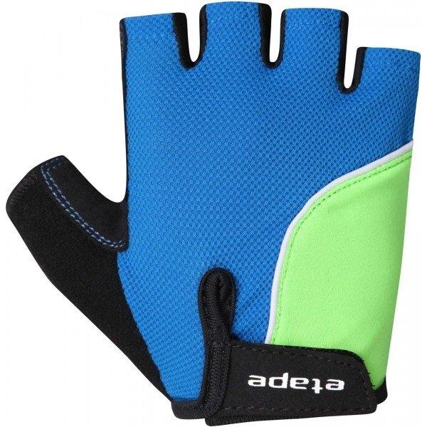 Modro-zelené dětské cyklistické rukavice Etape