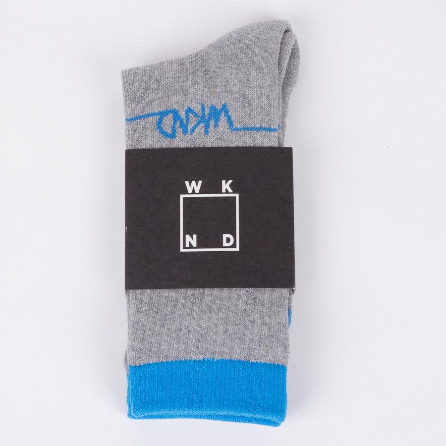 Modro-šedé vysoké pánské ponožky Line Logo Grey, WKND - univerzální velikost