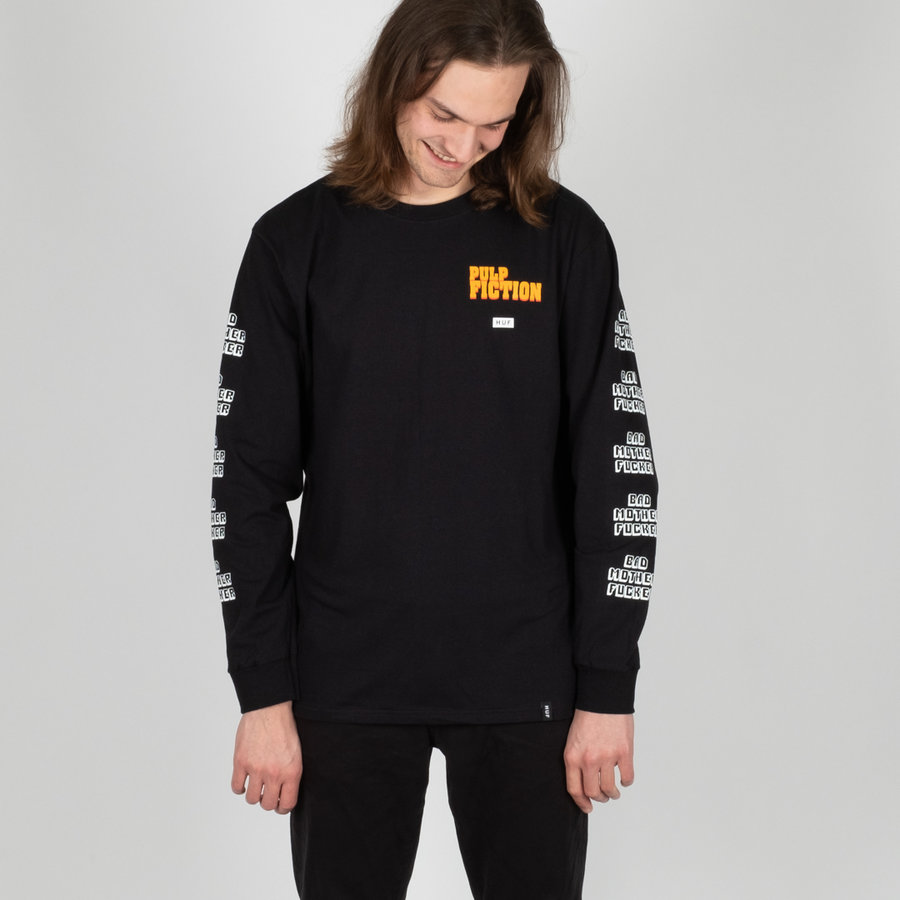 Černé pánské tričko s dlouhým rukávem Huf