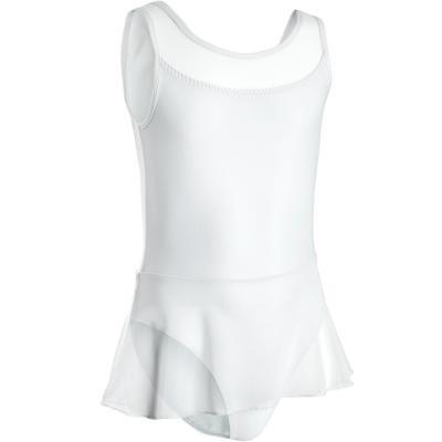 Bílý dívčí baletní trikot se sukní Domyos