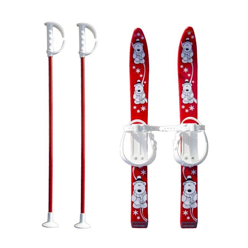 Červená dětská sada na sjezdové lyžování Master - délka 70 cm
