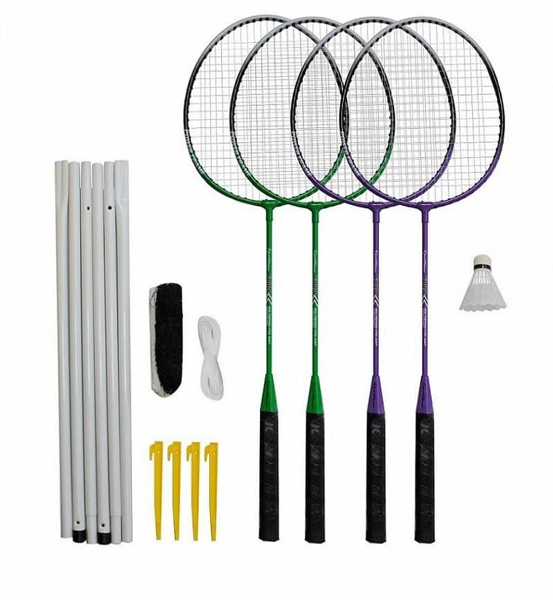 Sada na badminton - Badmintonový set 4x raketa, 1x míček, síť, vak