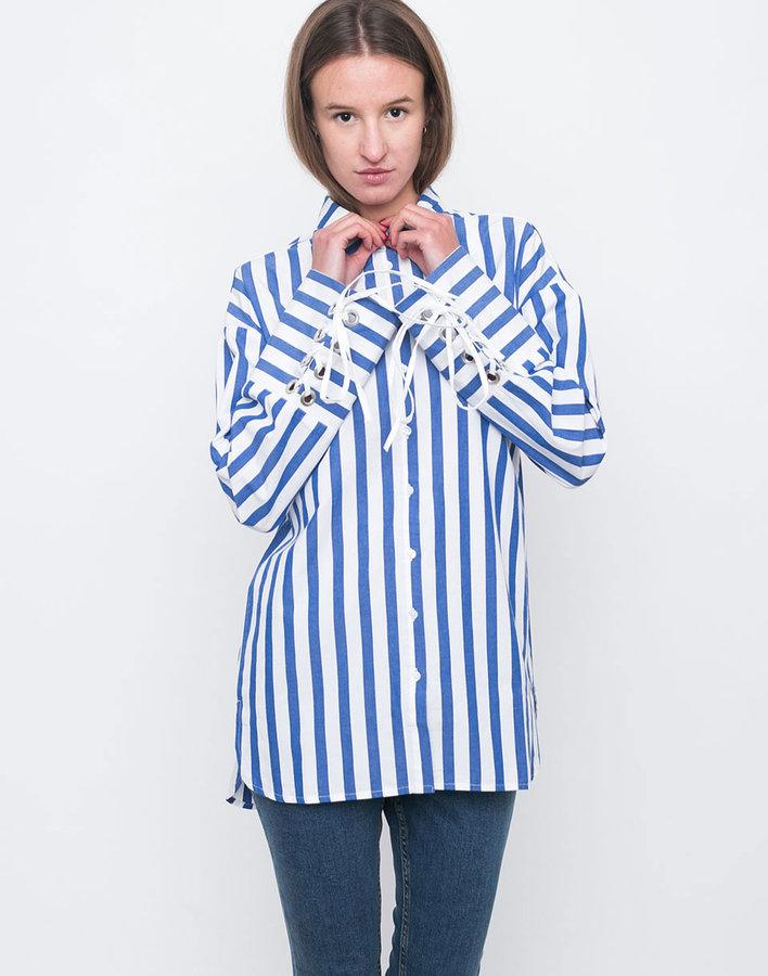 Bílo-modrá dámská košile s dlouhým rukávem Edited