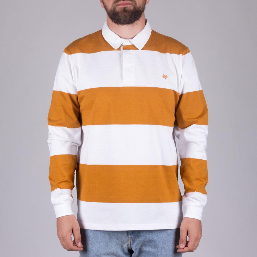 Bílo-oranžové pánské tričko s dlouhým rukávem Magenta