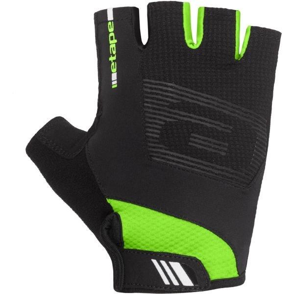 Černo-zelené cyklistické rukavice Etape - velikost S