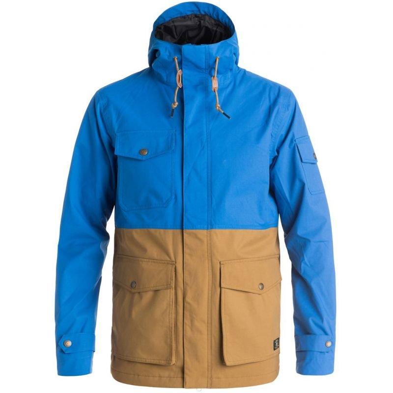 Hnědo-modrá pánská snowboardová bunda DC - velikost XL