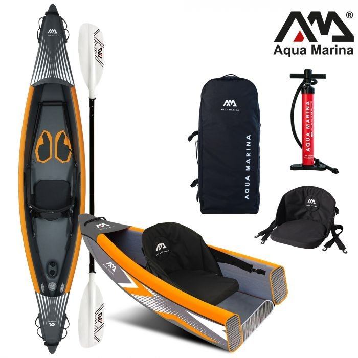 Oranžovo-šedý nafukovací kajak pro 1 osobu Tomahawk, Aqua Marina