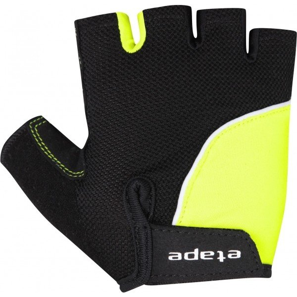 Černo-žluté dětské cyklistické rukavice Etape