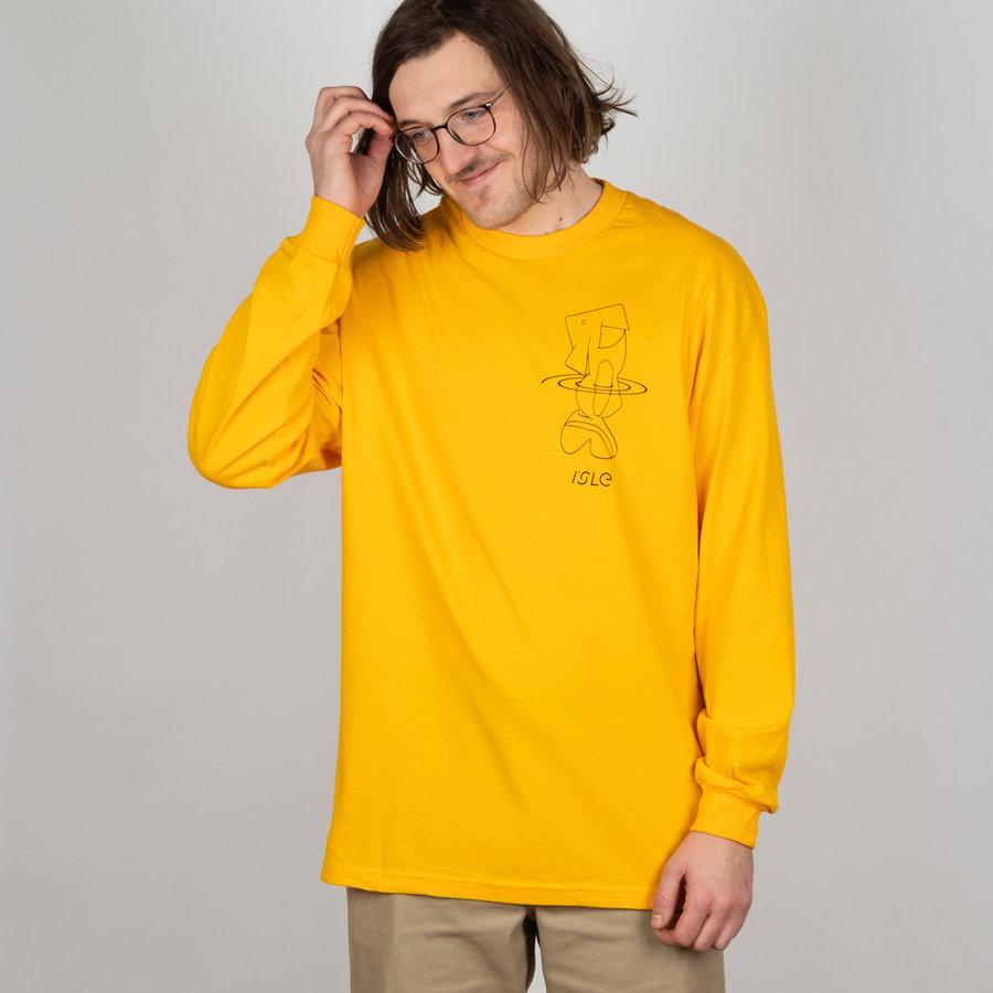 Žluté pánské tričko s dlouhým rukávem Isle Skateboards