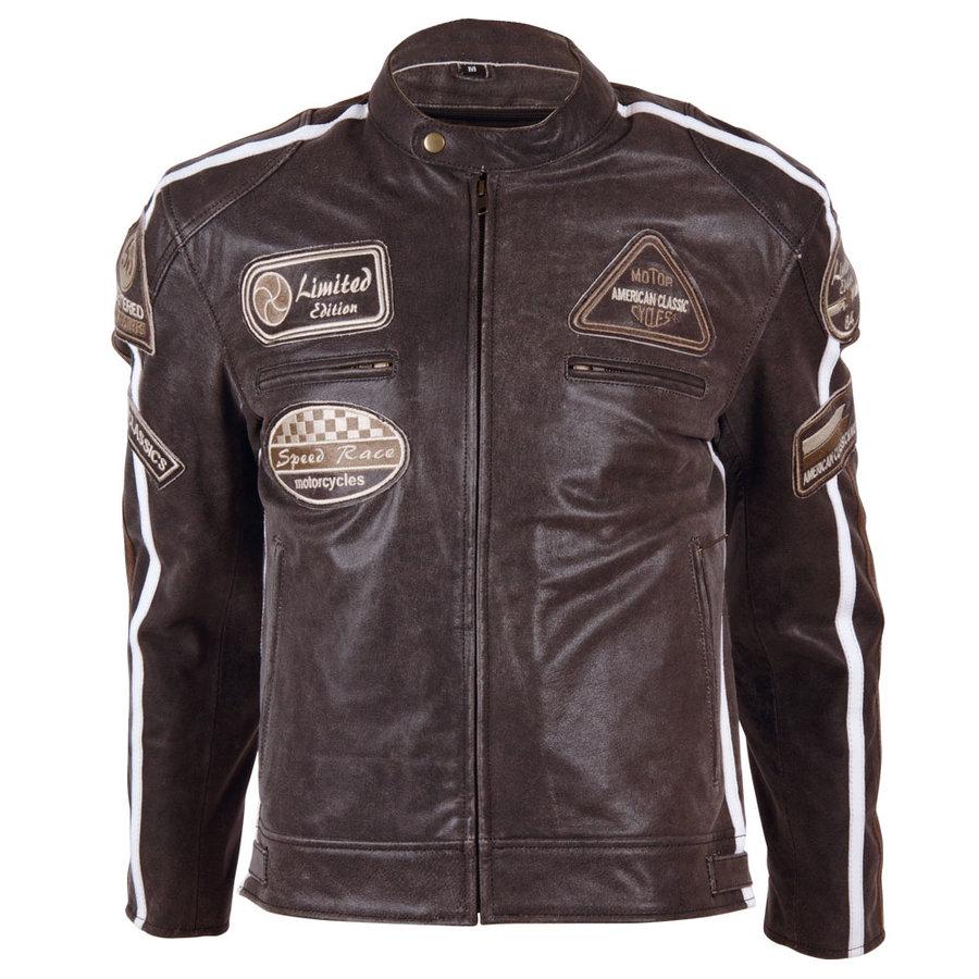 Hnědá pánská motorkářská bunda 2058, BOS - velikost S