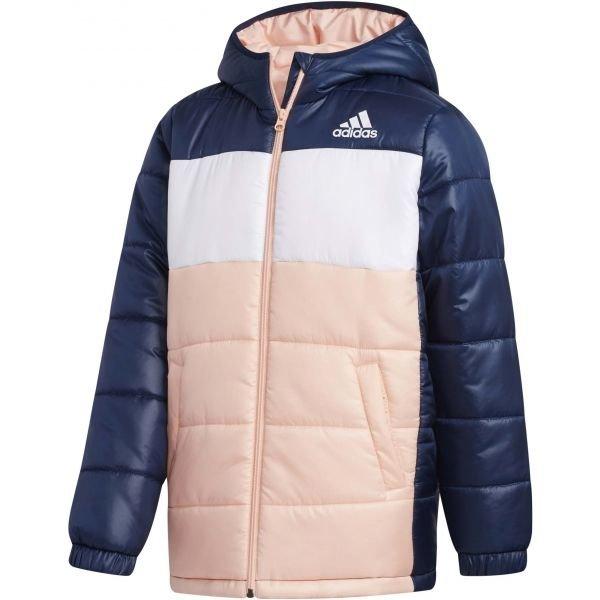 Modro-růžová zimní dívčí bunda Adidas - velikost 152