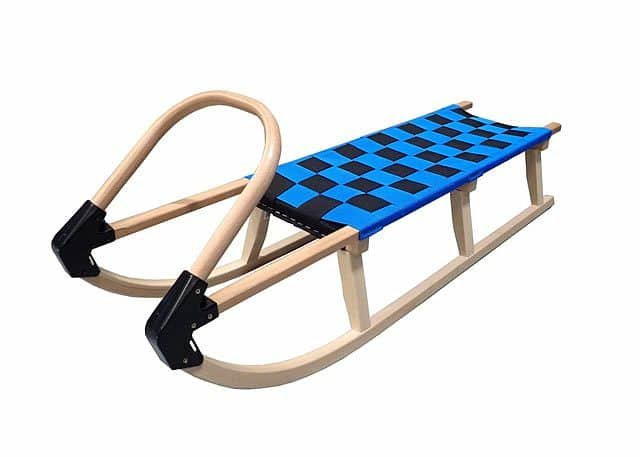 Modré dřevěné dětské sáňky Acra