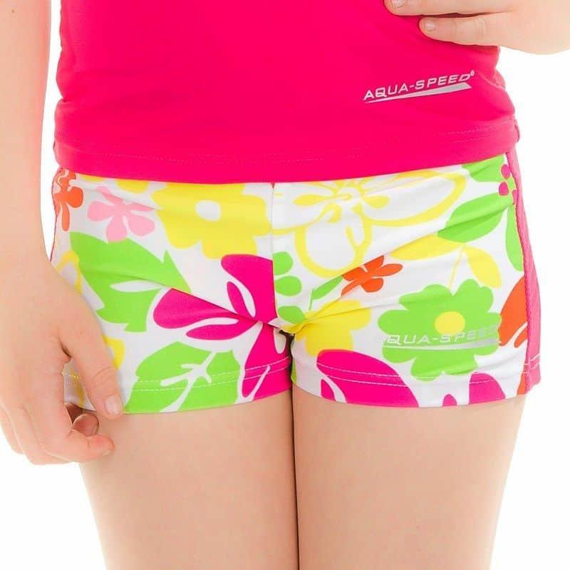 Bílo-růžové dětské dívčí koupací kraťasy Flower, Aqua-Speed