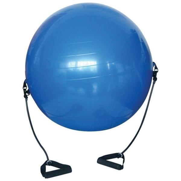 Modrý gymnastický míč s gumovými expandéry - průměr 65 cm