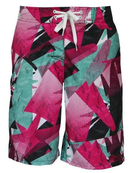 Růžovo-zelené dámské koupací kraťasy Swimshorts, Meatfly - velikost S