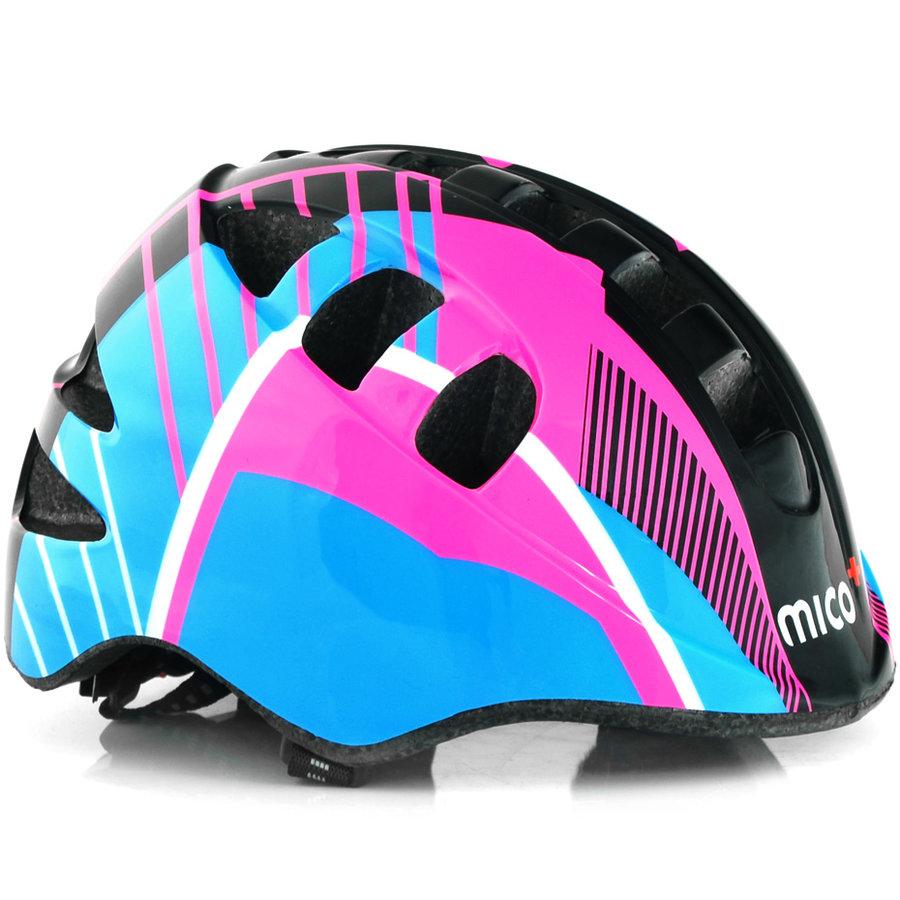 Modro-růžová dětská cyklistická helma Mico - velikost 52-56 cm