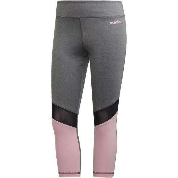 Růžovo-šedé dámské legíny Adidas - velikost L