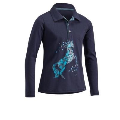 Modré dívčí jezdecké tričko Fouganza
