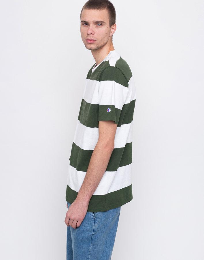 Bílo-zelené pánské tričko s krátkým rukávem Champion