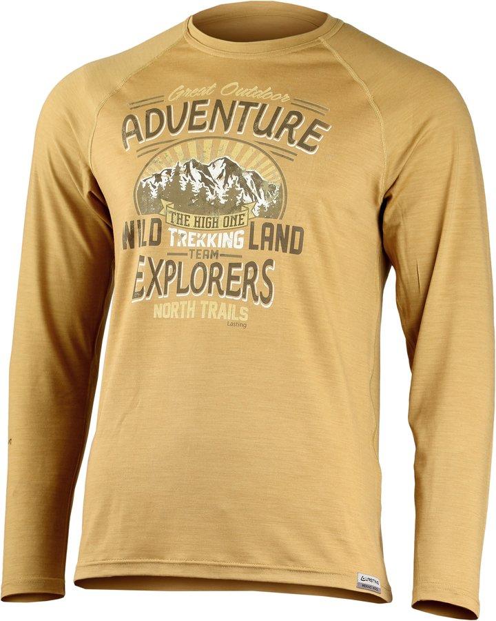 Béžové pánské tričko s dlouhým rukávem Lasting - velikost S
