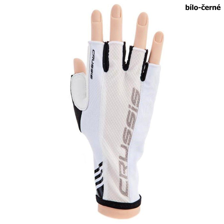 Bílo-černé cyklistické rukavice Crussis