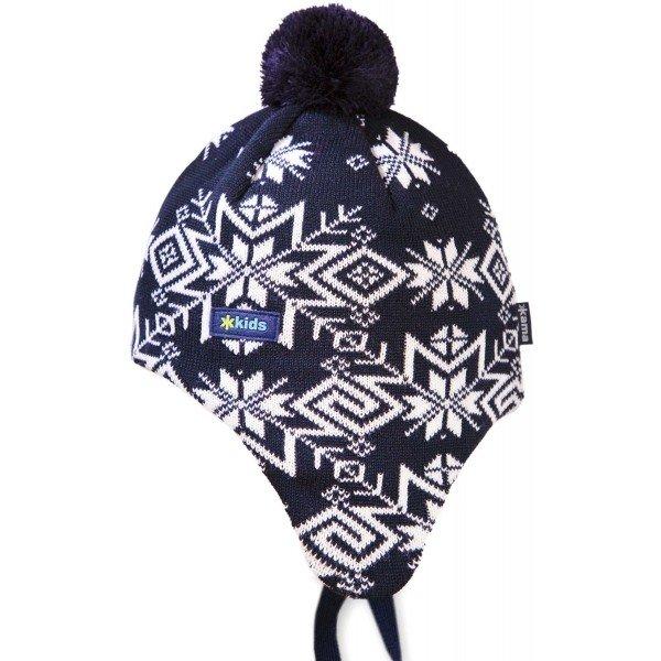 Bílo-černá dětská zimní čepice Kama