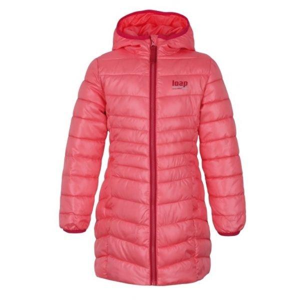 Růžový zimní dívčí kabát Loap