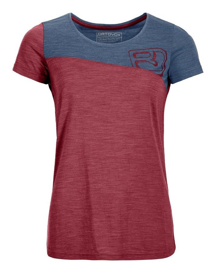 Červeno-modré dámské termo tričko s krátkým rukávem Ortovox
