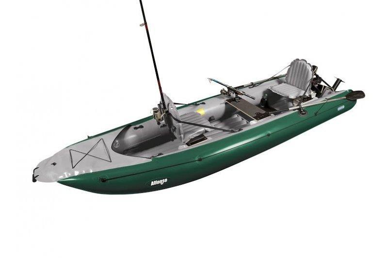 Šedo-zelená nafukovací rybářská kánoe pro 2 osoby Gumotex