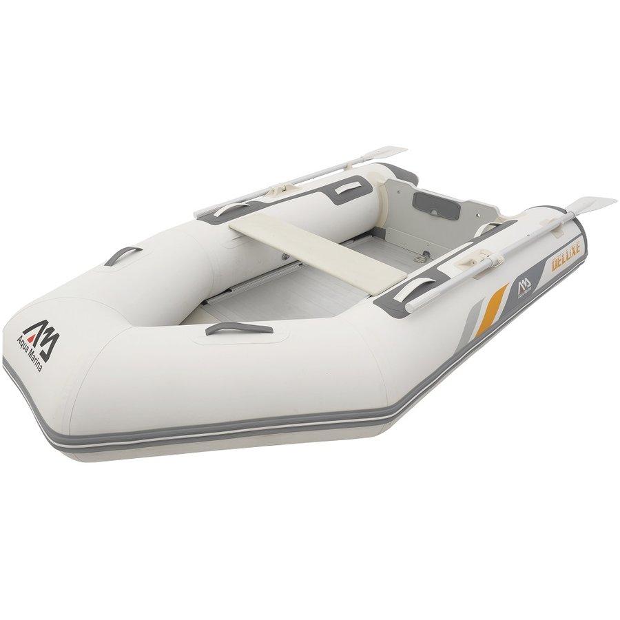 Bílý nafukovací člun s dřevěnou podlahou pro 5 osob + 1 dítě DELUXE, Aqua Marina