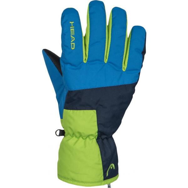Modro-zelené dětské lyžařské rukavice Head