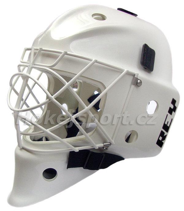 Bílá brankářská maska - junior HOMG-019 FG CAT EYE, Rey - velikost 53-58 cm