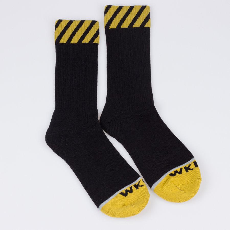 Černo-žluté vysoké pánské ponožky Caution, WKND - univerzální velikost