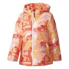 Růžová zimní dívčí bunda s kapucí Adidas