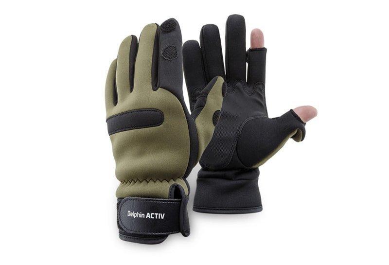 Černo-hnědé neoprenové rukavice ACTIV, Delphin